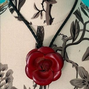 Bright Rose Leather Choker/Necklace